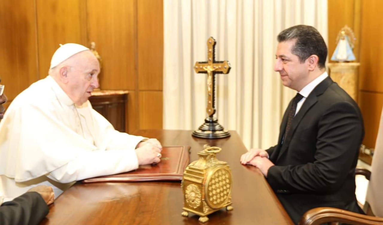 رئيس حكومة إقليم كوردستان يجتمع مع بابا الفاتيكان